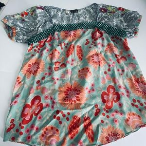 Anthropologie floral baby doll top Sz L Fei